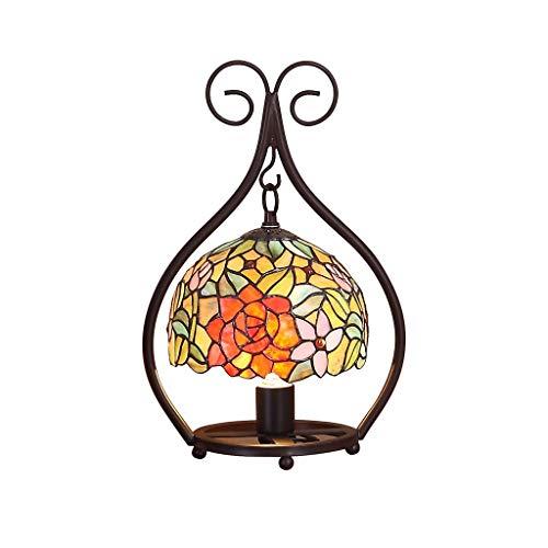 dongdong Lampara Mesilla Lámpara de Mesa de Mosaico Retro Arte decoración Hecha a Mano romántica lámpara de Mesa lámpara de Cristal lámpara Lámpara Mesa (Color : Push Button Switch)
