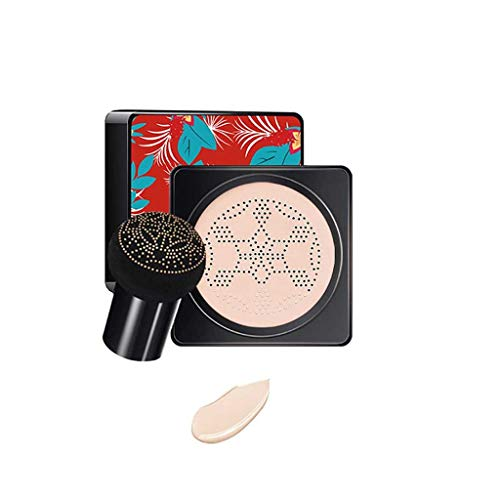 Yncc Mushroom Air Cushion BB Cream Couverture hydratante Taches Même Ton de Peau BB Crème Maquillage Primer-L'éponge à Champignons (Teint éclatant) (Blanc Ivoire)