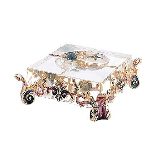 Cubo de ceniza de acero inoxidable, cenicero de cristal de cristal decoración de estilo europeo regalo de boda artesanía oficina de escritorio mesa sala de estar mesa de café decoraciones para hombres
