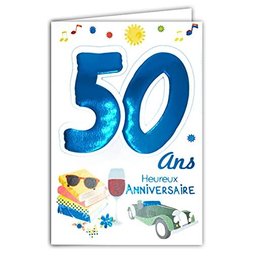 Age Mv 69-2034 Carte Anniversaire 50 ans Homme motif Voiture de collection Vin Lecture Livres Lunettes de soleil