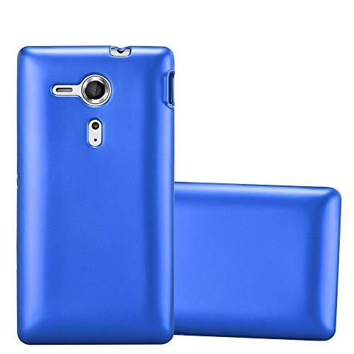 Cadorabo Custodia per Sony Xperia SP in Azzurro Metallico - Morbida Cover Protettiva Sottile di Silicone TPU con Bordo Protezione - Ultra Slim Case Antiurto Gel Back Bumper Guscio