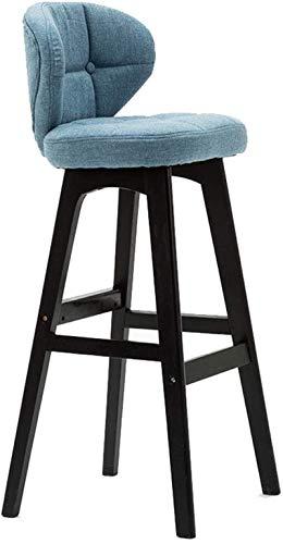 JYV Taburetes de Bar de Madera Modernos, con Respaldo, con Asiento Acolchado Respaldo, cojín Suave de Lino, Marco de Madera Maciza sillas Altas, Colores múltiples para Elegir