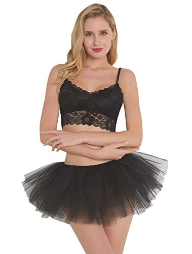FEOYA - Falda Enaguas Corta Mujer Tutú Ballet para Fiesta Danza Disfraz Cosplay...