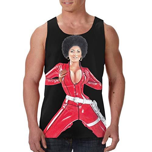 Pam Grier Men's Black Tank Tops Sleeveless T-Shirt Summer Holiday Vest Shirts XXL