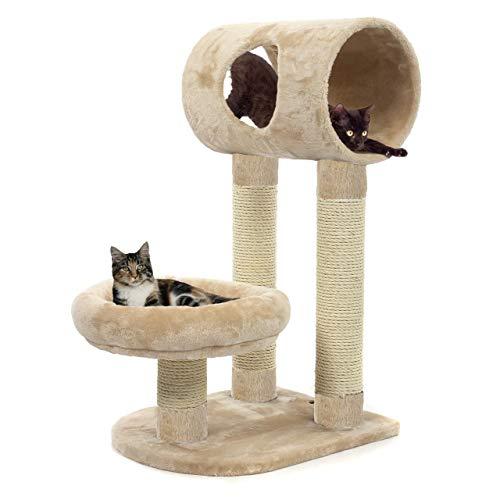 happypet® Kratzbaum für Katzen klein kompakt CAT024 79 cm hoch, kompakter Kletterbaum Katzenbaum, extra dicke und stabile Säulen mit Natur-Sisal ca. 9 cm Durchmesser, Liegeplattform, Liegetunnel, BEIGE