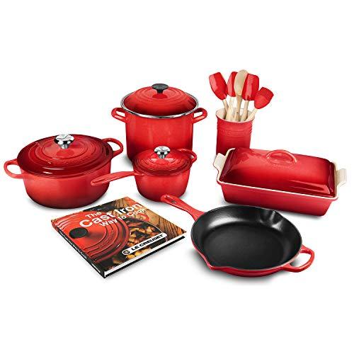 Le Creuset 16-piece Cookware Set, Cerise (Cherry Red)
