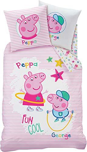 CTI Kinder-Wendebettwäsche Peppa Wutz Renforcé rosa-bunt Größe 135x200 cm (80x80 cm)