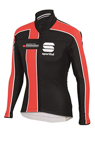 Sportful Veste Gruppetto Partial WS Windstopper Jacket, Black/Red Fire, M