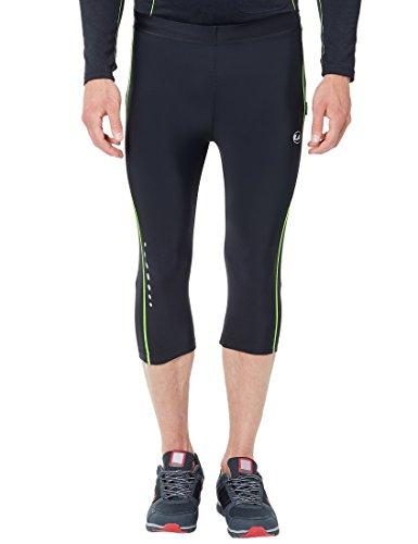 Ultrasport Pantalones de correr para hombre – pantalones de fitness 3/4 para hombre, con efecto de compresión y función de secado rápido, para fútbol, correr, marcha nórdica, ciclismo y otros deportes, Negro/Amarillo neón, XL
