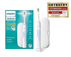 Philips Sonicare ProtectiveClean 4500 elektrische Zahnbürste HX6839/28 – Schallzahnbürste mit 2 Putzprogrammen, Andruckkontrolle, Timer & Reise-Etui – Weiß