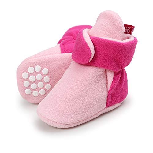 LACOFIA Neugeborenes Baby Jungen Mädchen rutschfest Weiche Sohle Slipper Stiefel Winter Krabbelschuhe Rosa 0-6 Monate