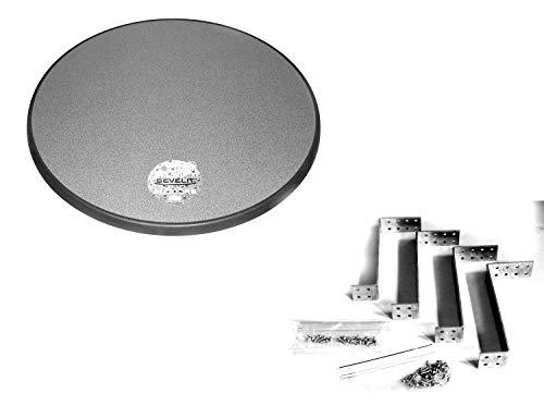 Sevelit Tischplatte, 85 cm rund wetterfest mit Kunststoffkante inkl. Montagehalterung für 200l Stahlfass, Ölfass, Holzfass für Party-Stehtisch (Puntinella)