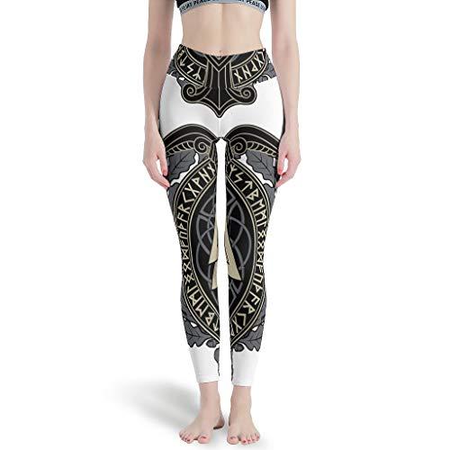 Pantalones de yoga para mujer con cintura alta, estampado vikingo, runas escandinavas, leggings, pantalones de cadera, pantalones de yoga, leggings perfectos para Cardio White 4XL