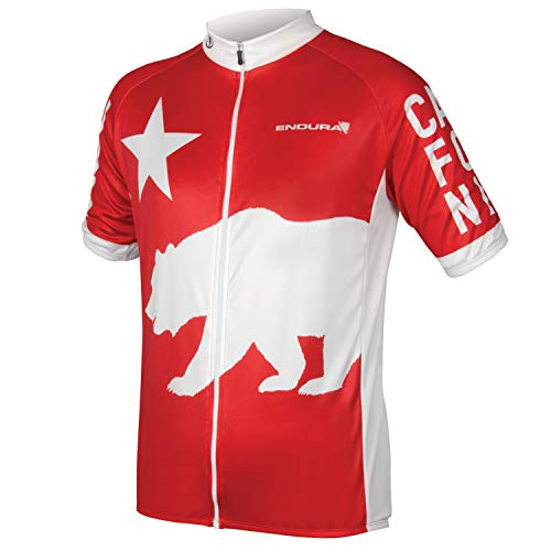 Endura California Full Zip Short Sleeve Radfahren Jersey, Herren, Rot, Medium