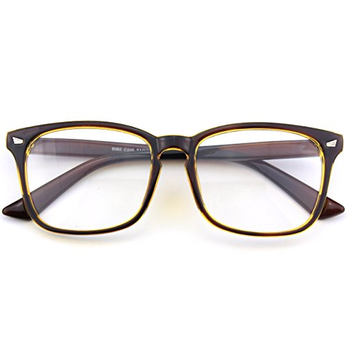 CGID CN92 Klassische Nerdbrille rund Keyhole 40er 50er Jahre Pantobrille Vintage Look clear lens, A Braun Gold, 53