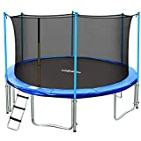 Zupapa 15FT 14FT 12FT Kids Trampoline with Enclosure net, Ladder Pole Safety Pad Jumping Mat Spring...