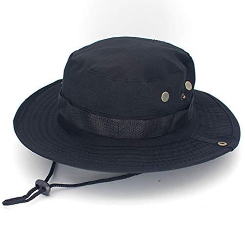 Egurs Unisexe Tactique Boonie Hat pêcheur Arrondi Sun Protection Camouflage Hat extérieur Escalade Jungle Noir