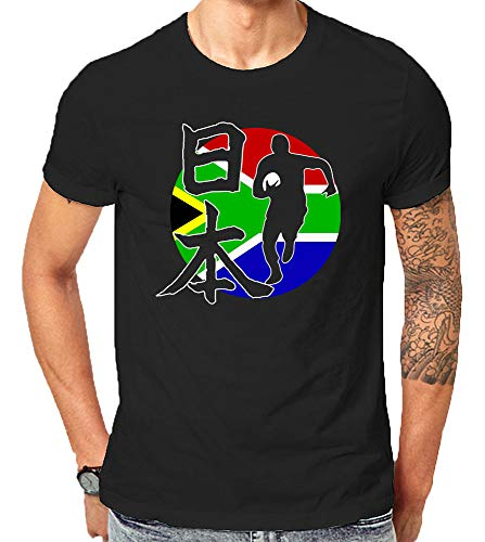 Made in USA - South Africa Rugby Championship World Team Supporter in 2019 T Shirts (3X-Large) Black