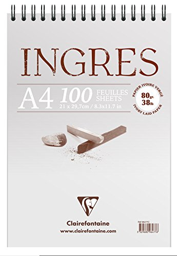 Clairefontaine 96477C Zeichenblock Ingres (mit Doppelspirale, gekörnt, DIN A4, 21 x 29,7 cm, 100 Bögen, 80 g, ideal für Trockentechniken) weiß