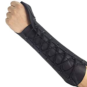 ArcheryMax Handmade Black Leather Arm Guard Bow Hand Shooting Glove