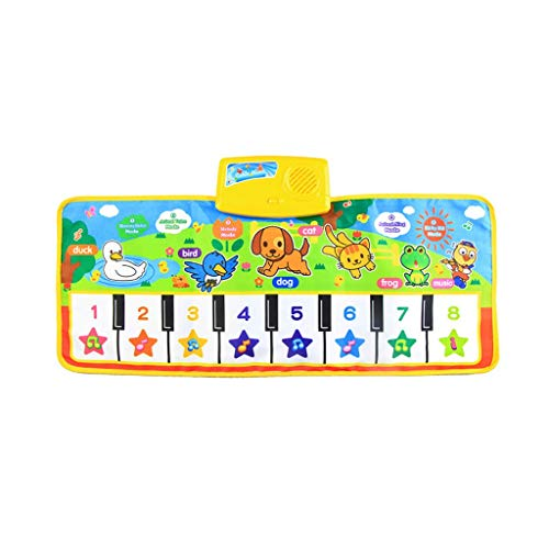 Mkcether Kids Musical Mats, Music Piano Keyboard Dance Floor Mat Carpet Animal Blanket Touch Playmat Early Education Toys Best Keyboard Piano for Baby Toddler Infants Girls Boys