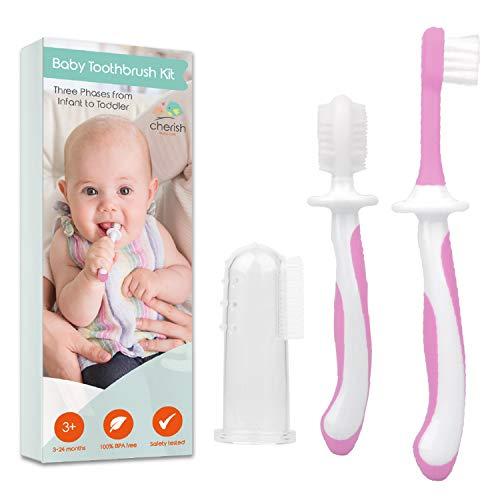 Zahnbürste Baby 0-2 Jahre - 3-teiliges Zahnbürsten-Set mit Fingerzahnbürste Baby und Kauzahnbürste als Zahnungshilfe Baby in Rosa