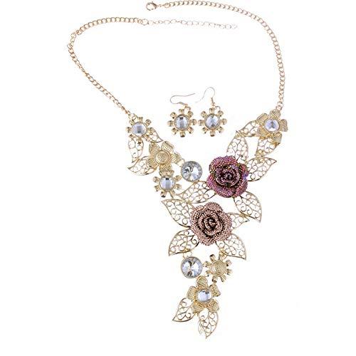 Luxury Necklace,Han Shi Women Elegant Vintage Flower Statement Necklace Earrings Jewelry Set (Gold, L)