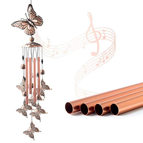 JOBOSI Butterfly Wind Chimes Brass Wind Chime Sympathy Wind Chimes Outdoor Gifts for Mom Gift Windchime Garden Windchimes Decorations Outdoor Patio Decorations with S Hook Indoor and Outdoor