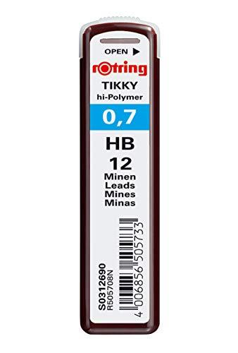 rOtring Tikky minas de recambio para portaminas de 0.7mm, HB, 10 paquetes (120 minas)