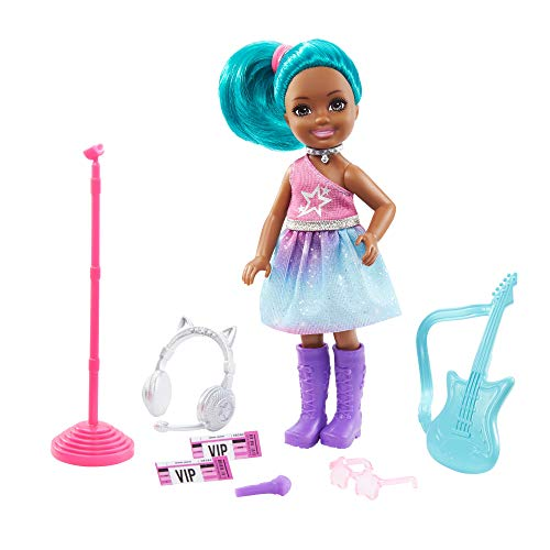 Barbie Chelsea Can Be Playset with Blue Hair Chelsea Rockstar Doll (6-in/15.24-cm), Guitar, Microphone, Headphones, 2 VIP Tickets, Star-Shaped Glasses, Great Gift for Ages 3 Years Old & Up