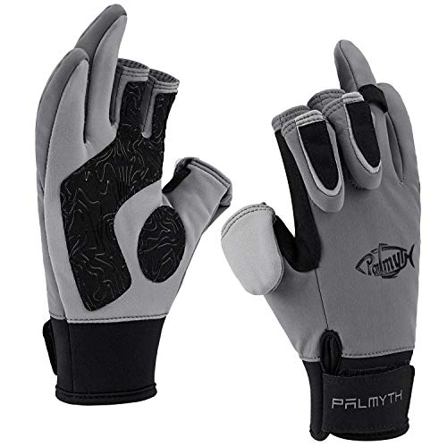 Palmyth Flexible Fishing Gloves Warm for Men and Women Cold Weather Insulated Water Repellent Great for Ice Fishing Fly Fishing Photography Motorcycling Running Shooting Cycling (Black/Grey, Medium)