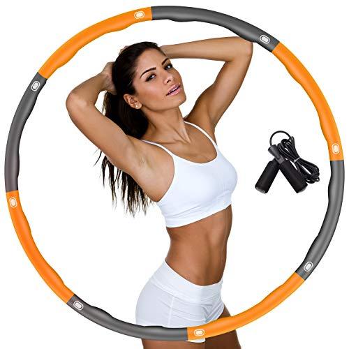 DUTISON Hula Hoop zur Gewichtsreduktion,Reifen mit Schaumstoff Gewichten Einstellbar Breit 48–95 cm beschwerter Hula-Hoop-Reifen für Fitness mit Springseil -Orange und Grau