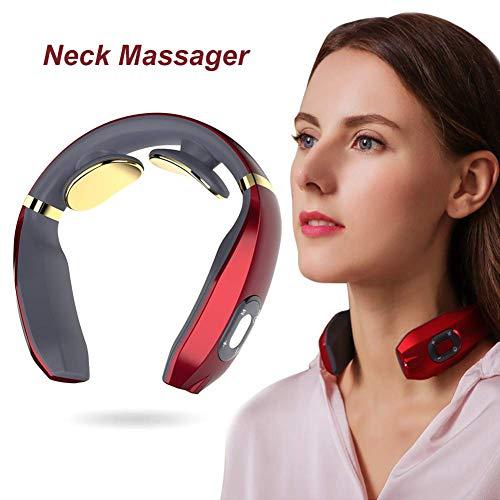 FUSHITON Neck Massager, Smart Neck Massager, Electric Pulse Neck Massager, Electric Neck Massager with 6 Modes,Wireless 3D Travel Neck Massage Equipment