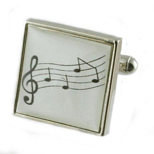 Partition de musique Design lourde solide Argent sterling 925 Boutons de manchette + cadeau personnalisé Message Boîte à boutons de manchette