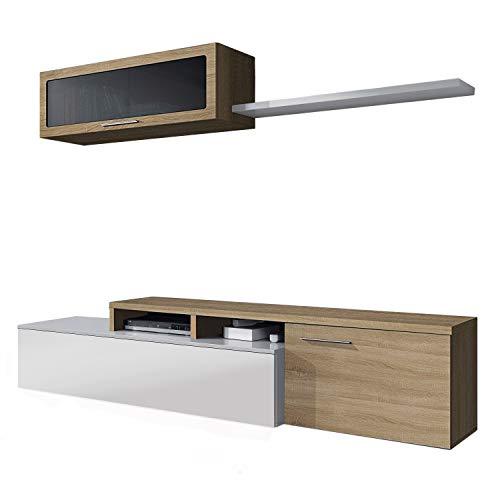 Mueble de Salon, Comedor, Mueble Moderno, Acabado en Color Blanco Brillo y Roble Canadian, Medidas: 200 cm (Ancho) x 43 cm (Alto) x 34 cm (Fondo)