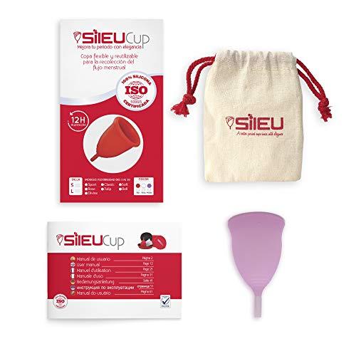 Copa Menstrual Sileu Cup Tulip - Alternativa ecológica y natural a tampones y compresas - Las mejores opiniones de nuestros clientes, recomendada por ginecólogos - Talla L, Morado