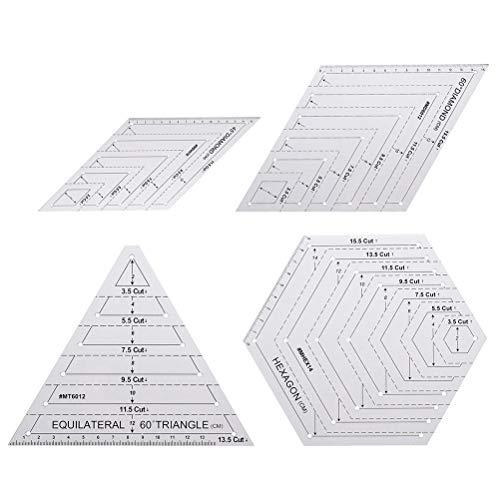 Chiyyak 4 reglas para acolchados, reglas triangulares, hexagonales, plantillas de 45 grados a 60 grados, para patchwork, costura, manualidades, herramientas de costura
