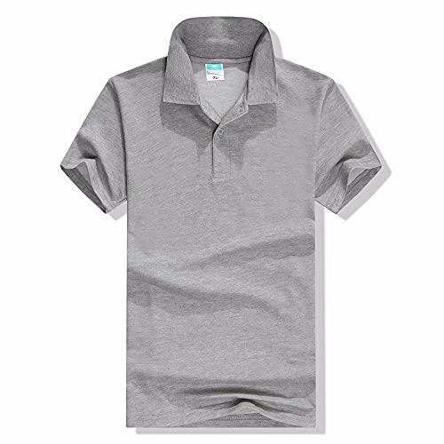 Polo Hombre Slim Fit Transpirable Básico Color Sólido Hombre Shirt Tapeta con Botones Verano Moderna Camisa Manga Corta Negocios Deportiva Al Aire Libre Camping Hombres Shirt Ocio E-Grey XL