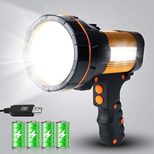 MAYTHANK Linterna LED de alta potencia, recargable por USB, súper luminosa, luz portátil, grande, 4 baterías 10000 mAh, alta 6000 lúmenes, para linterna de camping, emergencia