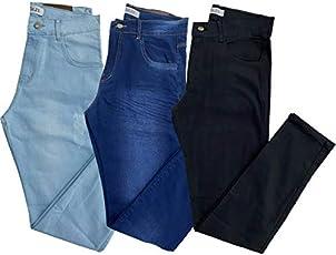 Kit com 3 Calças Masculinas Skinny Jeans Sarja