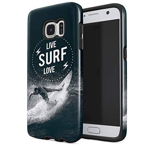 Funda para Samsung Galaxy S6 Man Surfing Waves On Coast California Tropical Live Surf Love Surf Resistente a los Golpes, Carcasa Dura de PC de 2 Capas + Funda Protectora de Diseño Híbrido de TPU