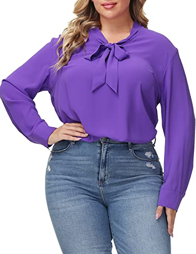 Women's Plus Size Casual Bow Tie Neck Long Sleeve Blouse Shirt Top 20W Purple