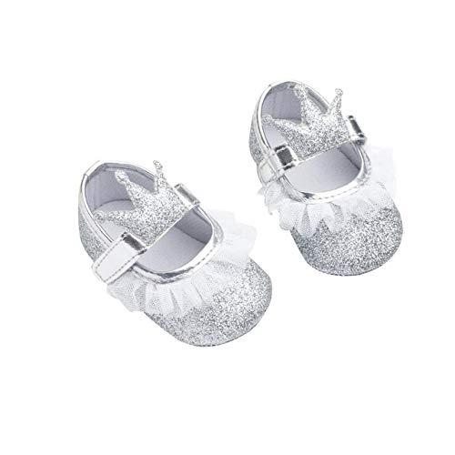 DEBAIJIA Baby Mädchen Prinzessin Schuhe Kleinkind Schöne Krone Spitze Weiche Sohle rutschfeste Kunstleder Geeignet für 6-18 Monate Klettverschluss Silber 17 EU (Etikettengröße 1)