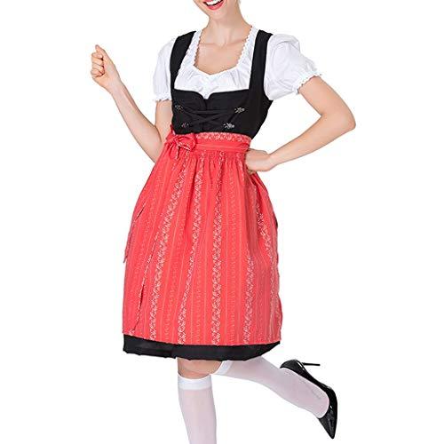 Eaylis Cosplay Kleid Oktoberfest DienstmäDchen KostüM KostüM Kleid Rot, Blau, Lila, GrüN Bandage Weste Cover Kniegruppe Beinhaltet 1PC Top + 1 x Schürze + 1 Kleid