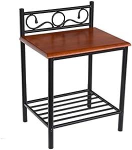 PEGANE Table de Chevet ST62 en Bois Brun et Pieds en métal Noir, Dim: H64 x L45 x P35 cm