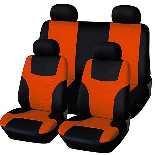 LINGJIE Universal-Autositzbezüge für Vorder- und Rückseite, Premium-Sitzbezug 8pcs, es fühlt Sich angenehm schmutzresistenter verschleißfestes, leicht zu reinigen,Orange