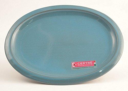 CERTRE Sottovaso ovale in gres ceramica Art.S6001- cm.24x19 h 2- Colore Azzurro Cielo Smaltato