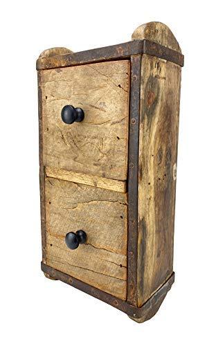 Crispe home & garden Vintage Regal – zum Aufhängen – mit 2 Schubladen – aus recyceltem Holz - Maße (HxBxT) 30 x 15 x 10 cm