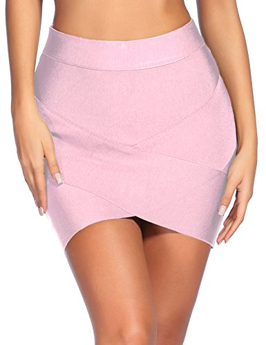 Madam Uniq iFashion Women's Sexy Rayon Bandage Bodycon Slim Fit Office Mini Skirt X-Small Pink