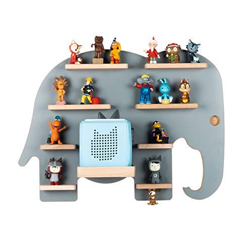 BOARTI Kinder Regal Elefant in Grau - geeignet für die Toniebox und ca. 38 Tonies - zum Spielen und Sammeln